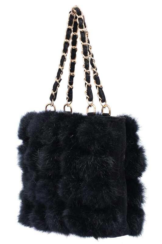 74020bf01657 Black Plaid Faux Fur Chain Bag -SHEIN(SHEINSIDE)