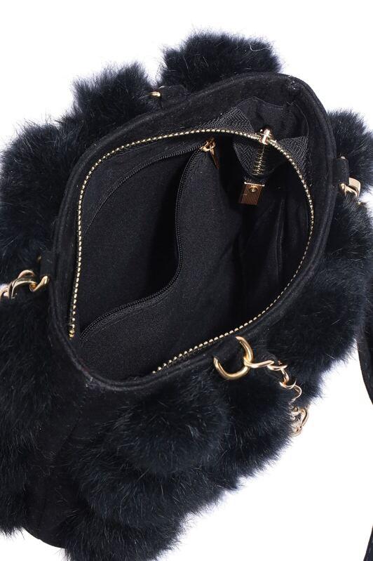 b5fbabe76f5f Black Plaid Faux Fur Chain Bag. AddThis Sharing Buttons