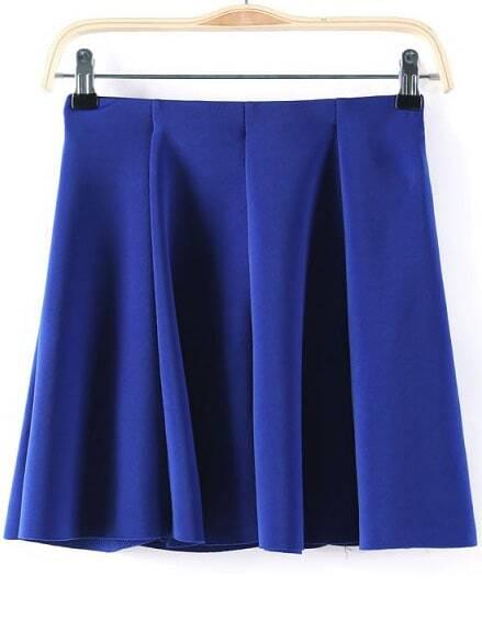 royal blue pleated flare skirt shein sheinside