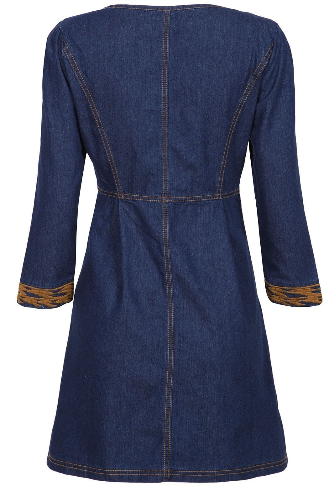 Navy long sleeve bleached embroidered denim dress shein