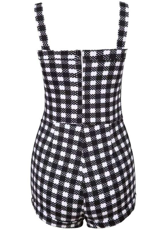 26daf2f5590 Black White Strap Hollow Plaid Jumpsuit -SheIn(Sheinside)