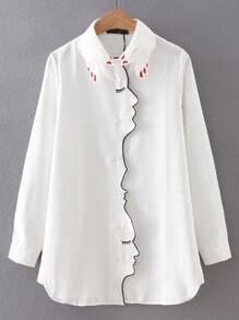 Camicia ricamata con maniche lunghe bianca