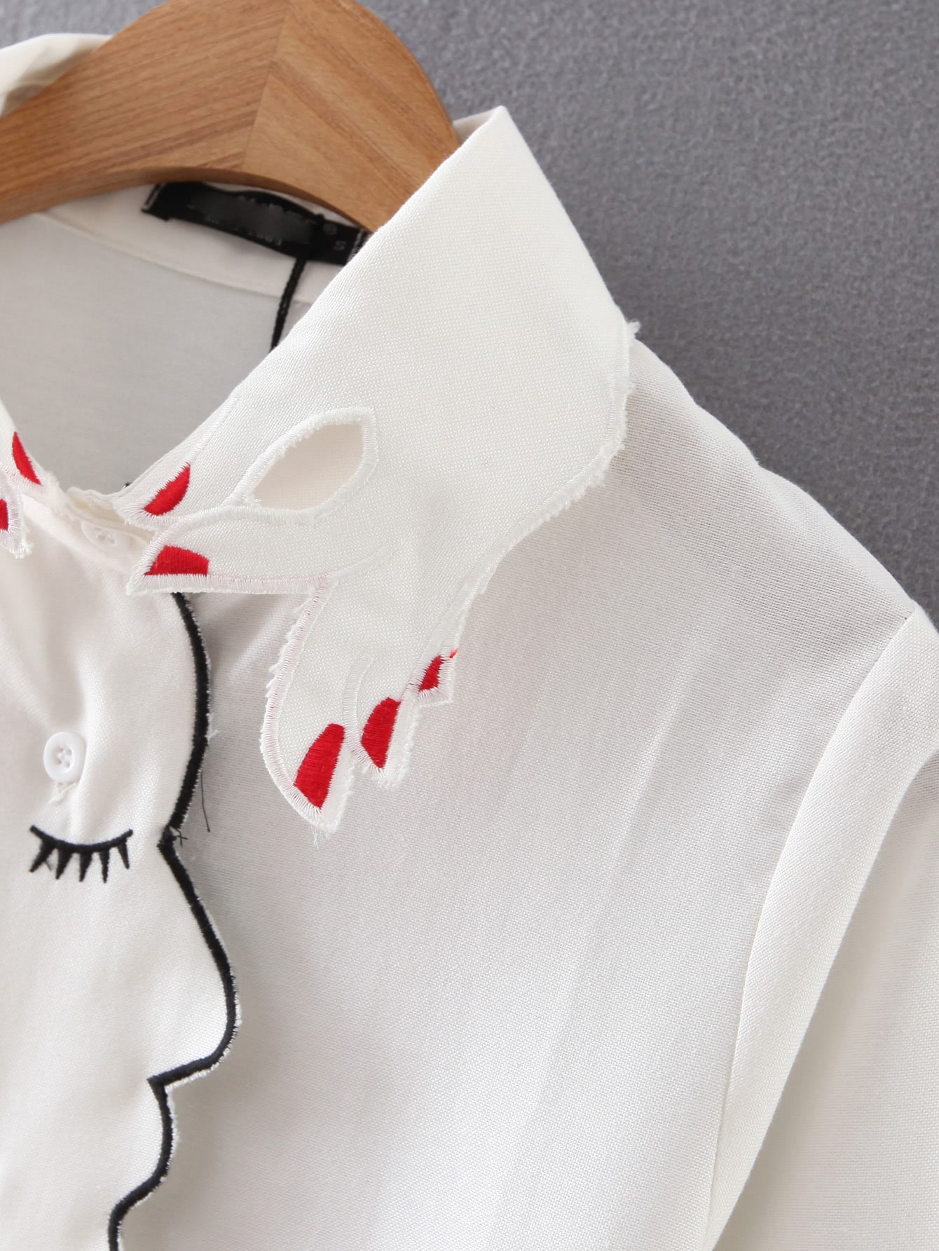 White Long Sleeve Hand Collar Embroidered Blouse