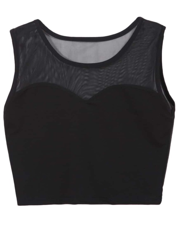 d70671c75d3 Black Sheer Mesh Crop Tank Top | SHEIN