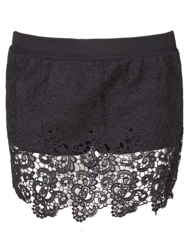 Black Hollow Lace Crochet Shorts Sheinsheinside