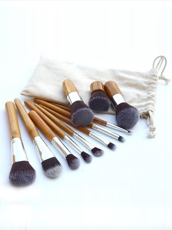 Bamboo Makeup Brushes: 11 Pcs Bamboo Makeup Foundation Fiber Liner Eyeshadow