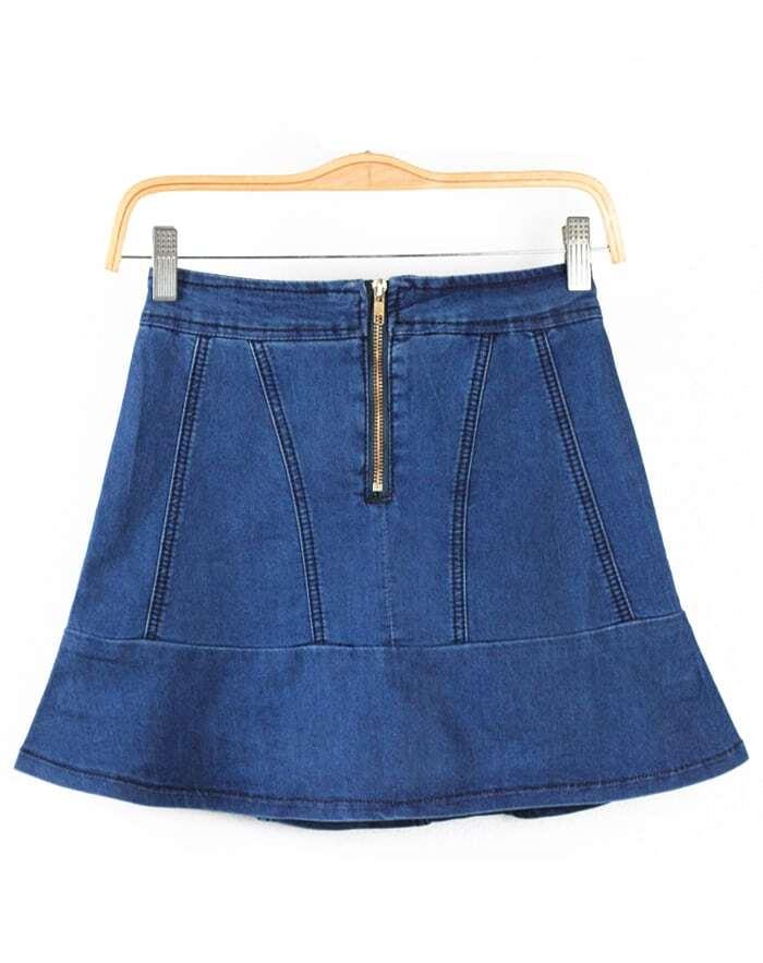 blue high waist ruffle denim skirt shorts shein sheinside