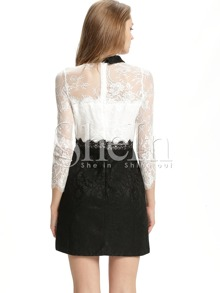 90ded3d7e8 White Long Sleeve Color Block Lace Dress | SHEIN
