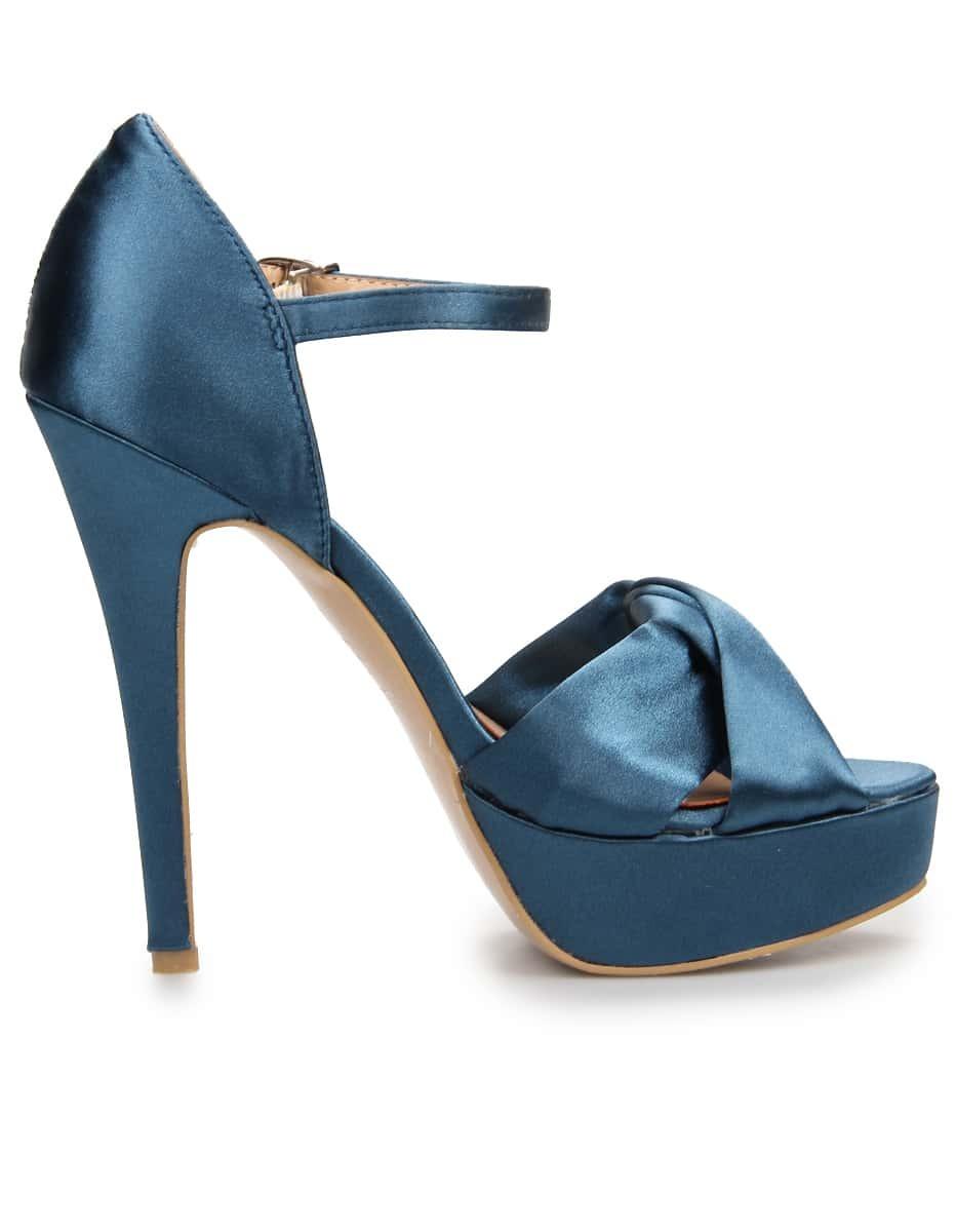 blue satin platform high heels shoes shein sheinside. Black Bedroom Furniture Sets. Home Design Ideas
