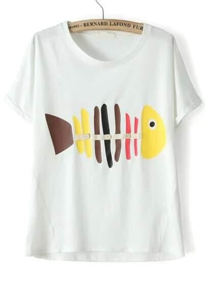 Camiseta Suelta Pez De Manga Corta Espina Blanco 4jq5cAL3R