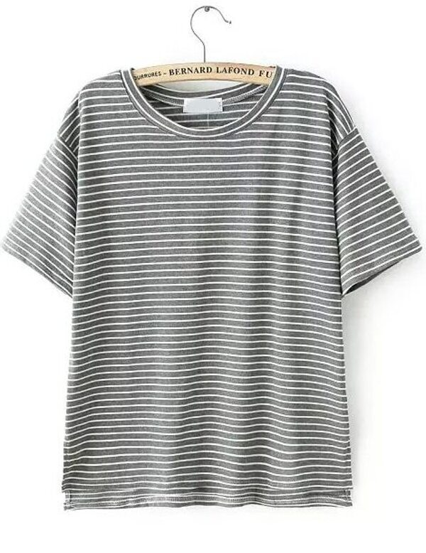 b1c34f68e89 Cheap Grey Short Sleeve Vintage Striped T-Shirt for sale Australia ...