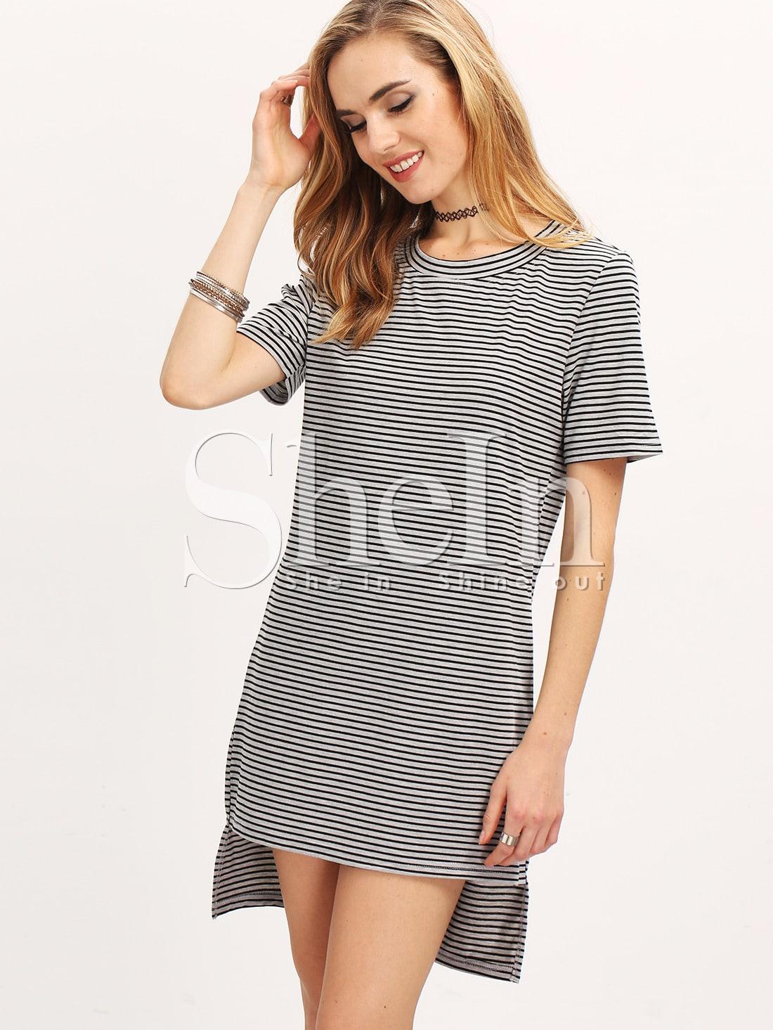 63079f0f44 Grey Short Sleeve Striped High Low Dress | SHEIN