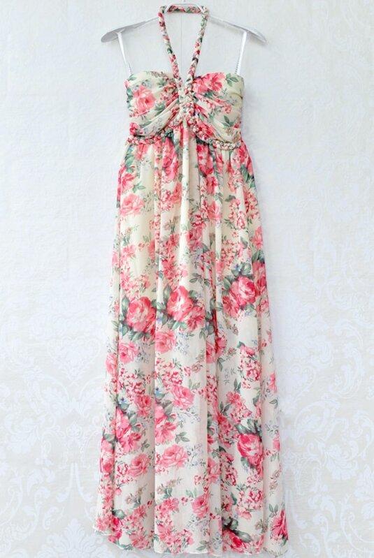 a41b438fe26c Red Halter Neck Floral Chiffon Maxi Dress -SheIn(Sheinside)