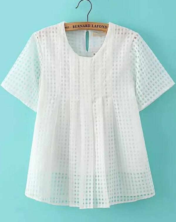 online store e9212 638e5 Camicia in organza con maniche corte bianca