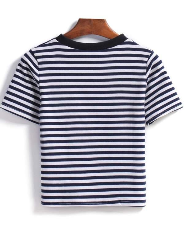bef5b6e0ff13 Blue White Short Sleeve Striped T-Shirt | SHEIN