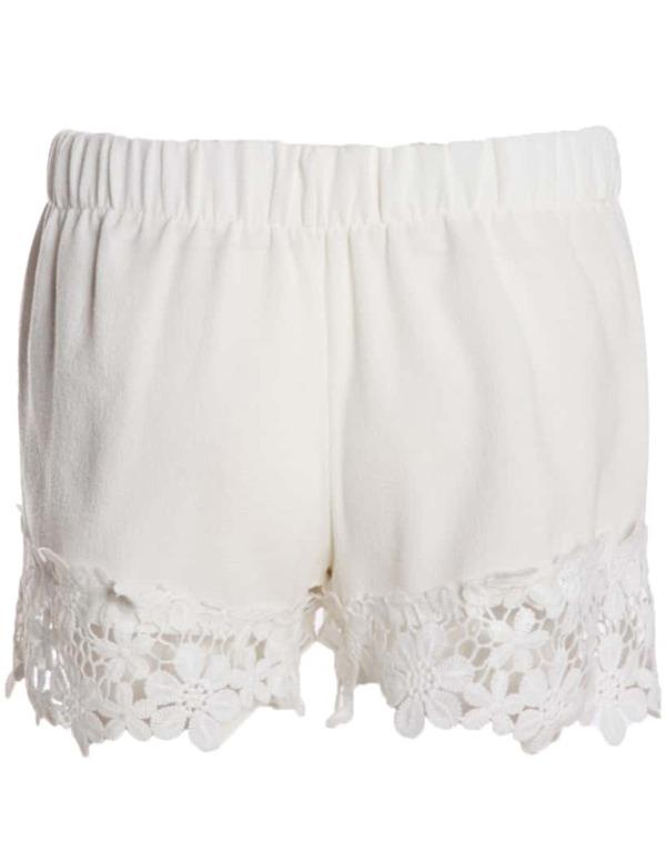 White Elastic Waist Floral Crochet Shorts Shein