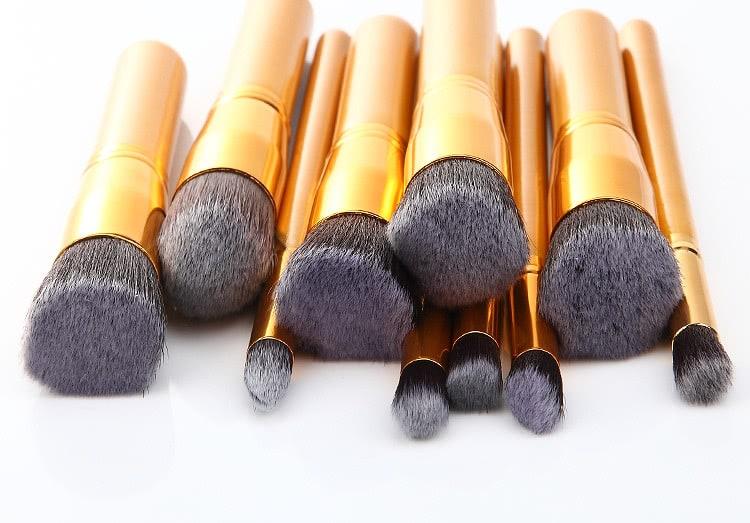10pcs Professional Makeup Set Brushes Tools-Gold