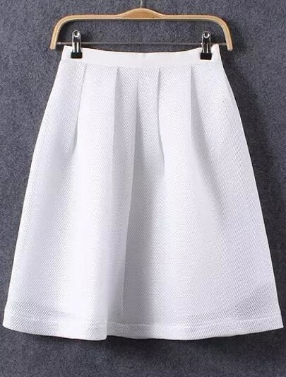 e984df7191 White With Zipper A-Line Skirt   SHEIN