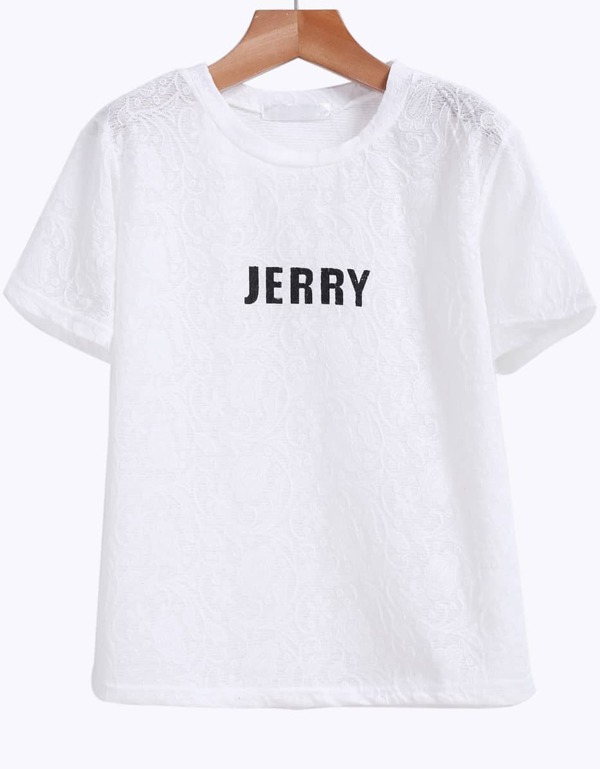 White Short Sleeve JERRY Print Lace T-Shirt -SheIn(Sheinside) 5a0056eb393a9