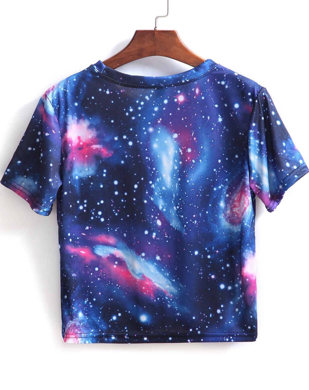 Blue short sleeve galaxy print crop t shirt shein sheinside for Galaxy white t shirts wholesale