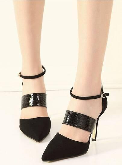 high heels spitz schunspitze mit riemen schwarz german. Black Bedroom Furniture Sets. Home Design Ideas