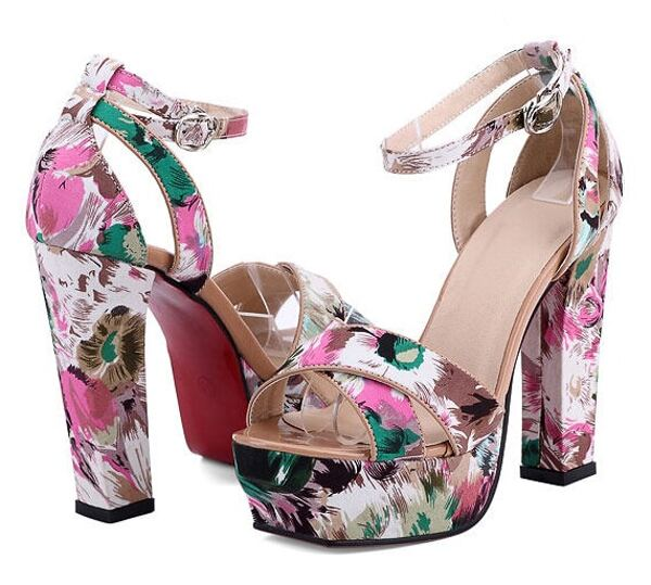 Sandalias De Tacón Plataforma Flores Rosa rdCxhQst