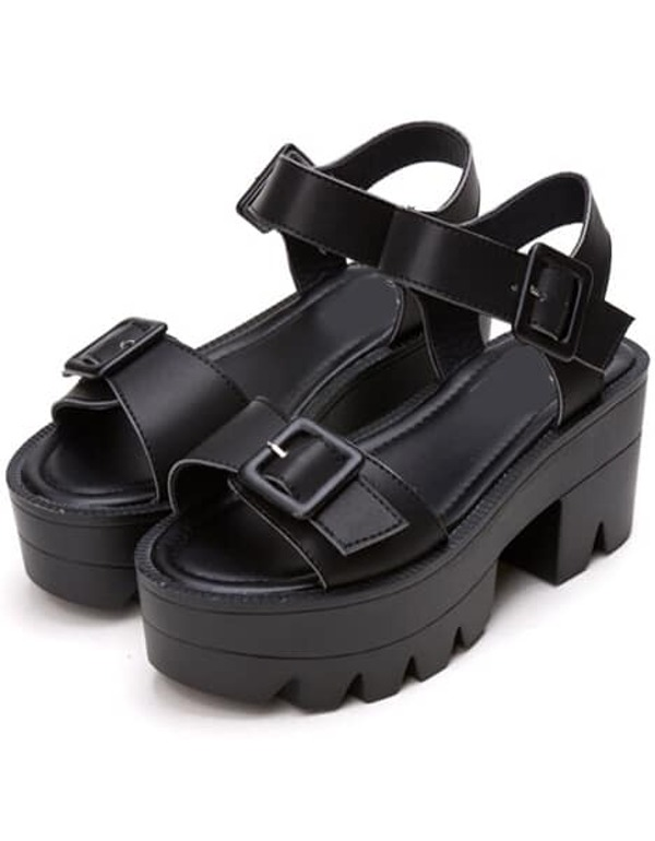 2d7d0d6d8 Black Buckle Strap Platform Sandals | SHEIN