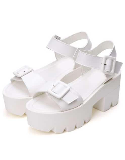c9ecee136 White Buckle Strap Platform Sandals | SHEIN