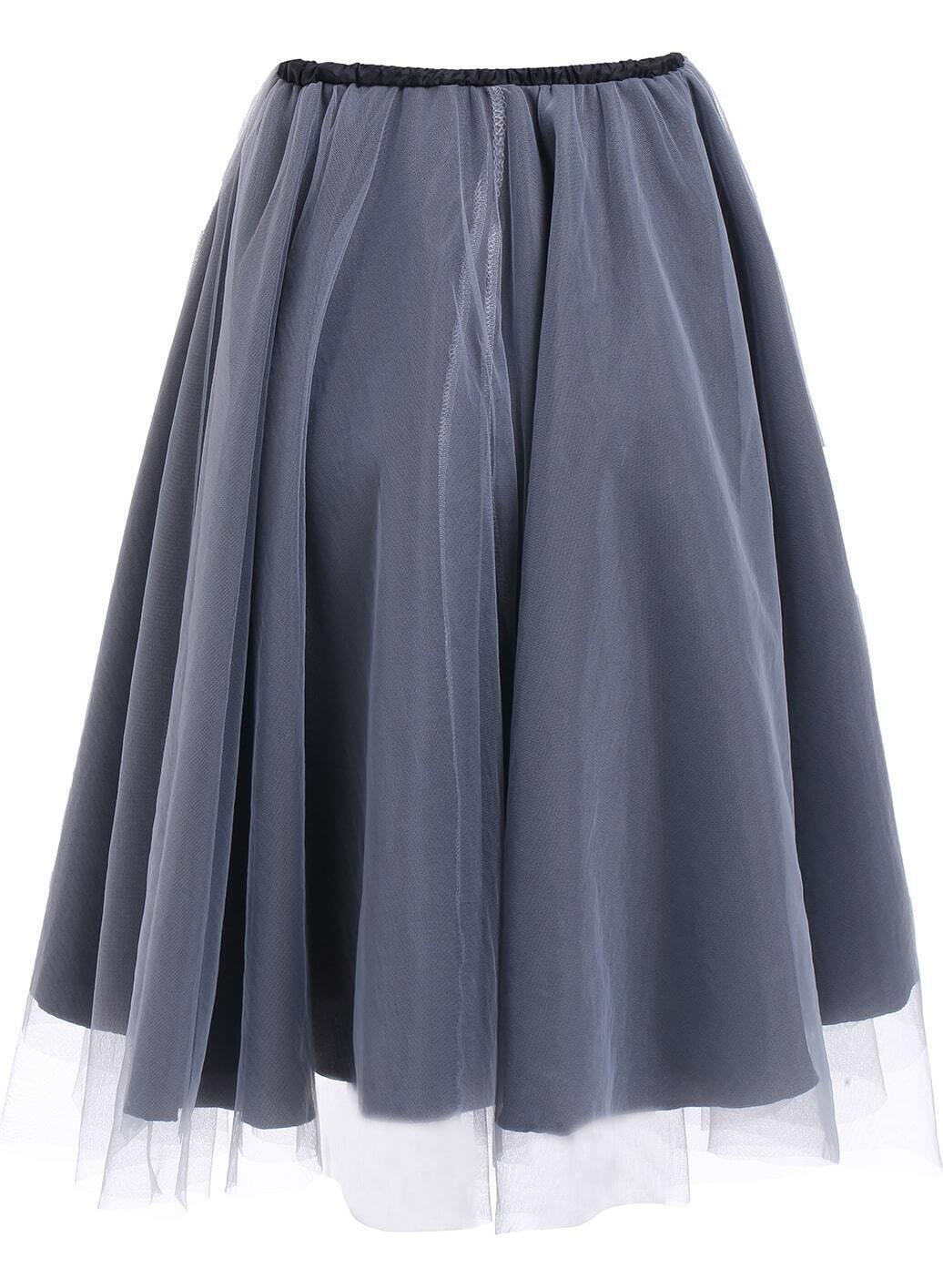 blue elastic waist sheer mesh pleated skirt shein sheinside