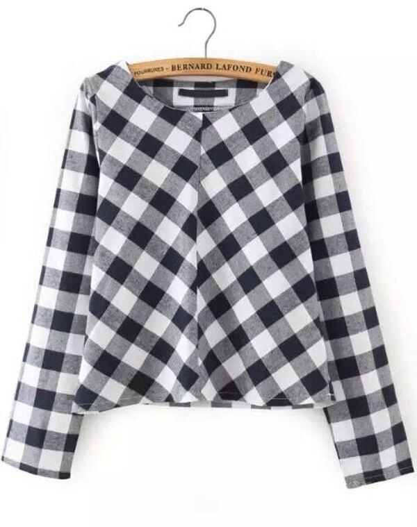 b817f059e2d Black White Long Sleeve Plaid Crop Top -SheIn(Sheinside)