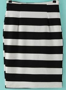 Black White Split Striped Skirt