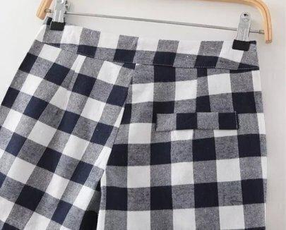shorts droit plaid bleu marine french shein sheinside. Black Bedroom Furniture Sets. Home Design Ideas