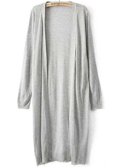 Grey Long Sleeve Loose Knit Cardigan -SHEIN(SHEINSIDE) b9ce9c260