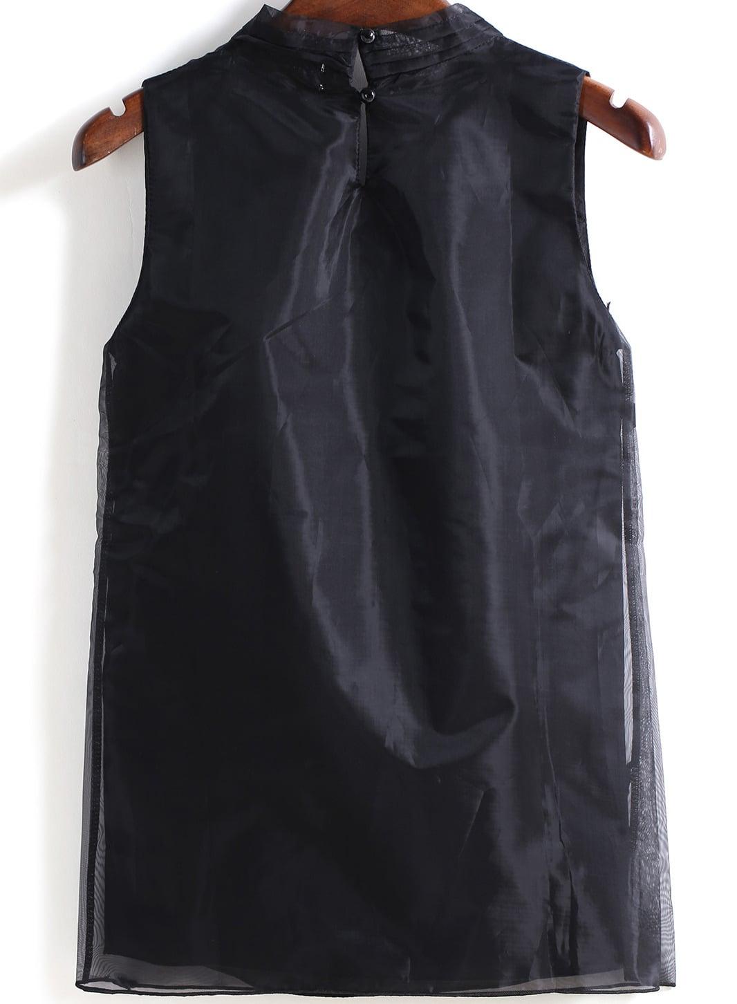 Black Sleeveless Chiffon Blouse 61