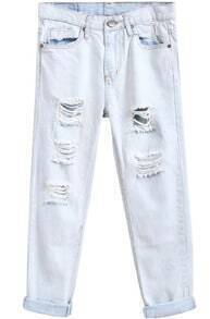 Light Blue Ripped Denim Pant