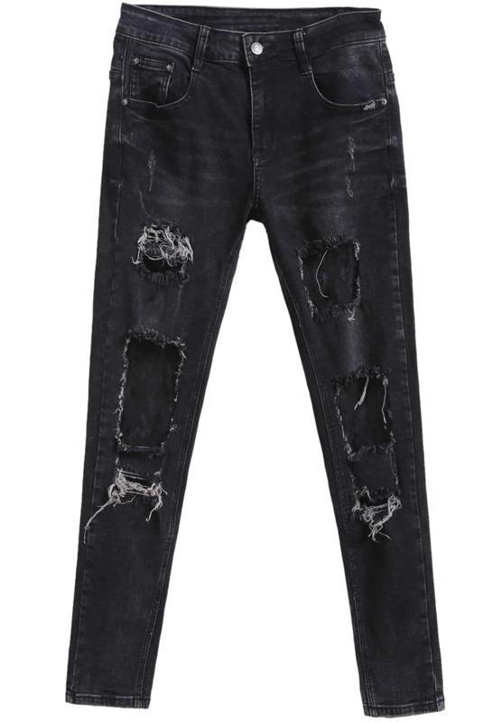 7f6fa7dfcb8 Pantalones vaqueros encaje con rotos-negro. AddThis Sharing Buttons