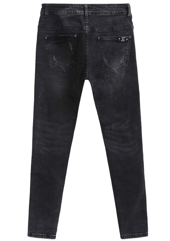 4ab72477abc Pantalones vaqueros encaje con rotos-negro | SHEIN ES