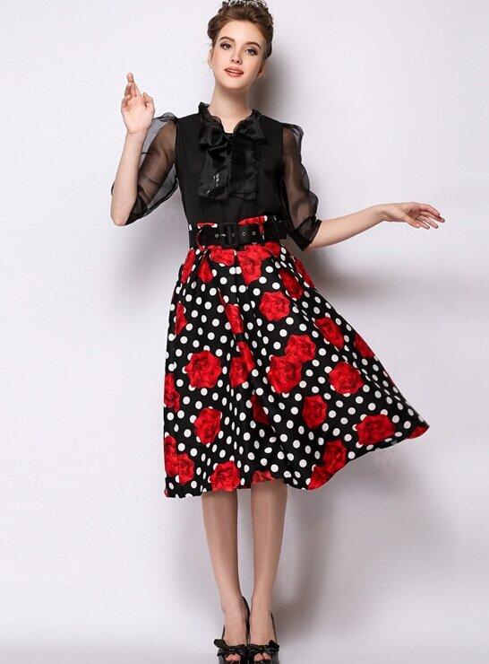 c73640e41c0 Black Polka Dot Rose Print Skirt