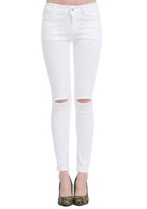 White Slim Ripped Denim Pant