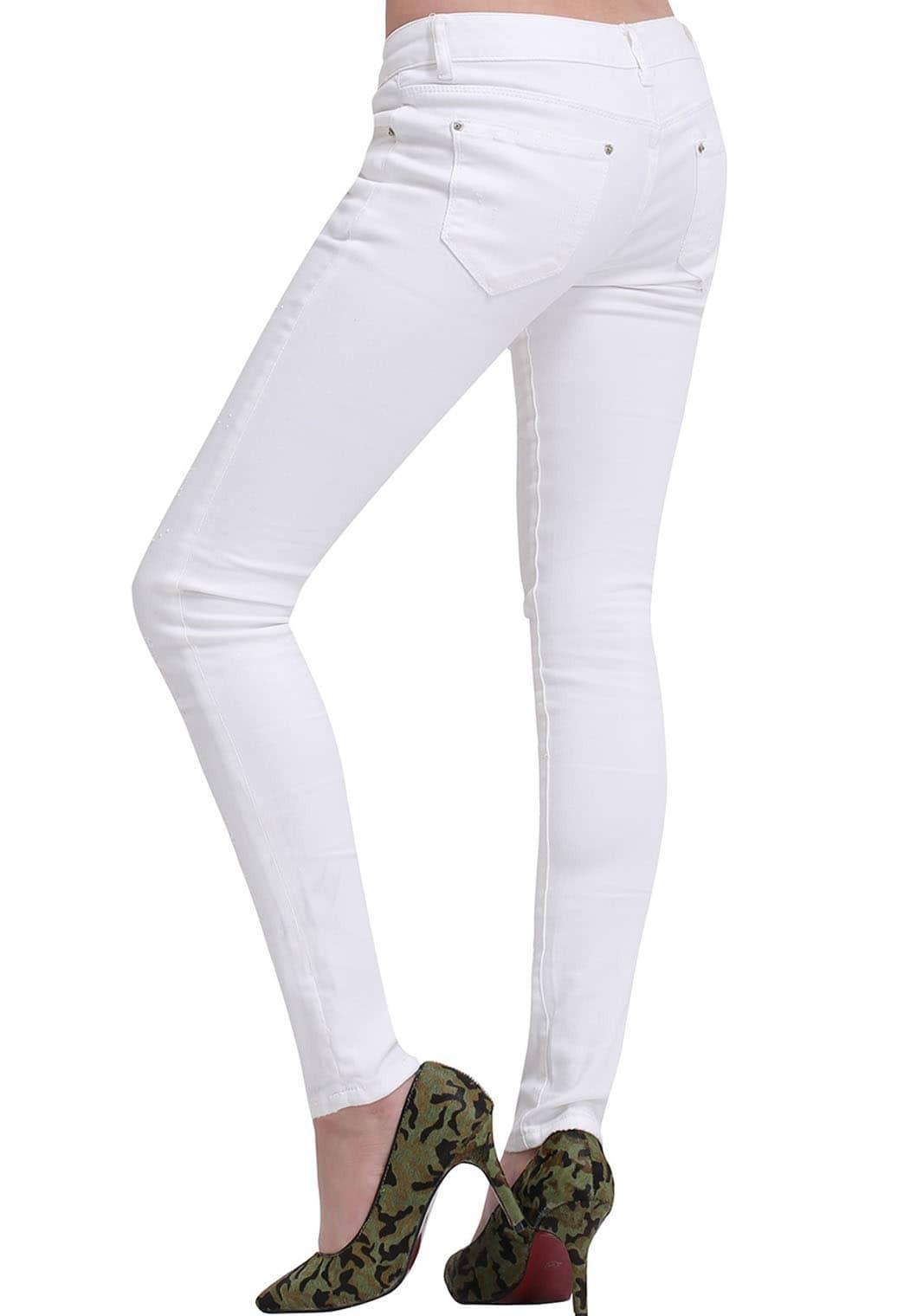 pantalon en denim d chir blanc french shein sheinside. Black Bedroom Furniture Sets. Home Design Ideas