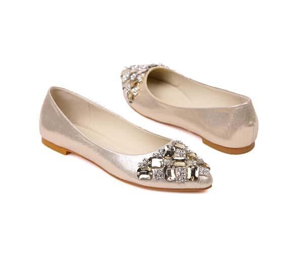 Gold flat sandals with rhinestones