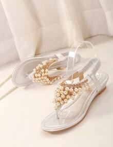 zehentrenner sandalen mit perlen besetzt wei german. Black Bedroom Furniture Sets. Home Design Ideas