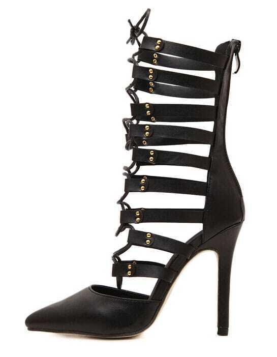 black back zipper lace up high heeled boots shein sheinside