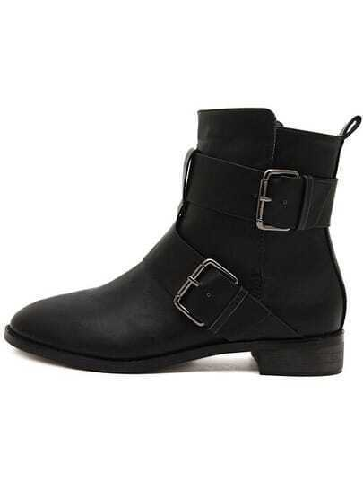 black buckle flat boots shein sheinside