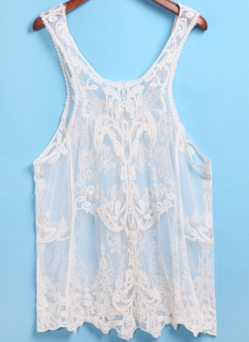 Apricot Strap Embroidered Lace Cami Top SheInSheinside