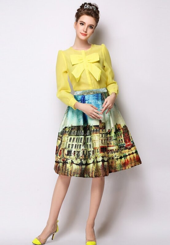 6fca0c20b Yellow Landscape Print Midi Skirt. AddThis Sharing Buttons