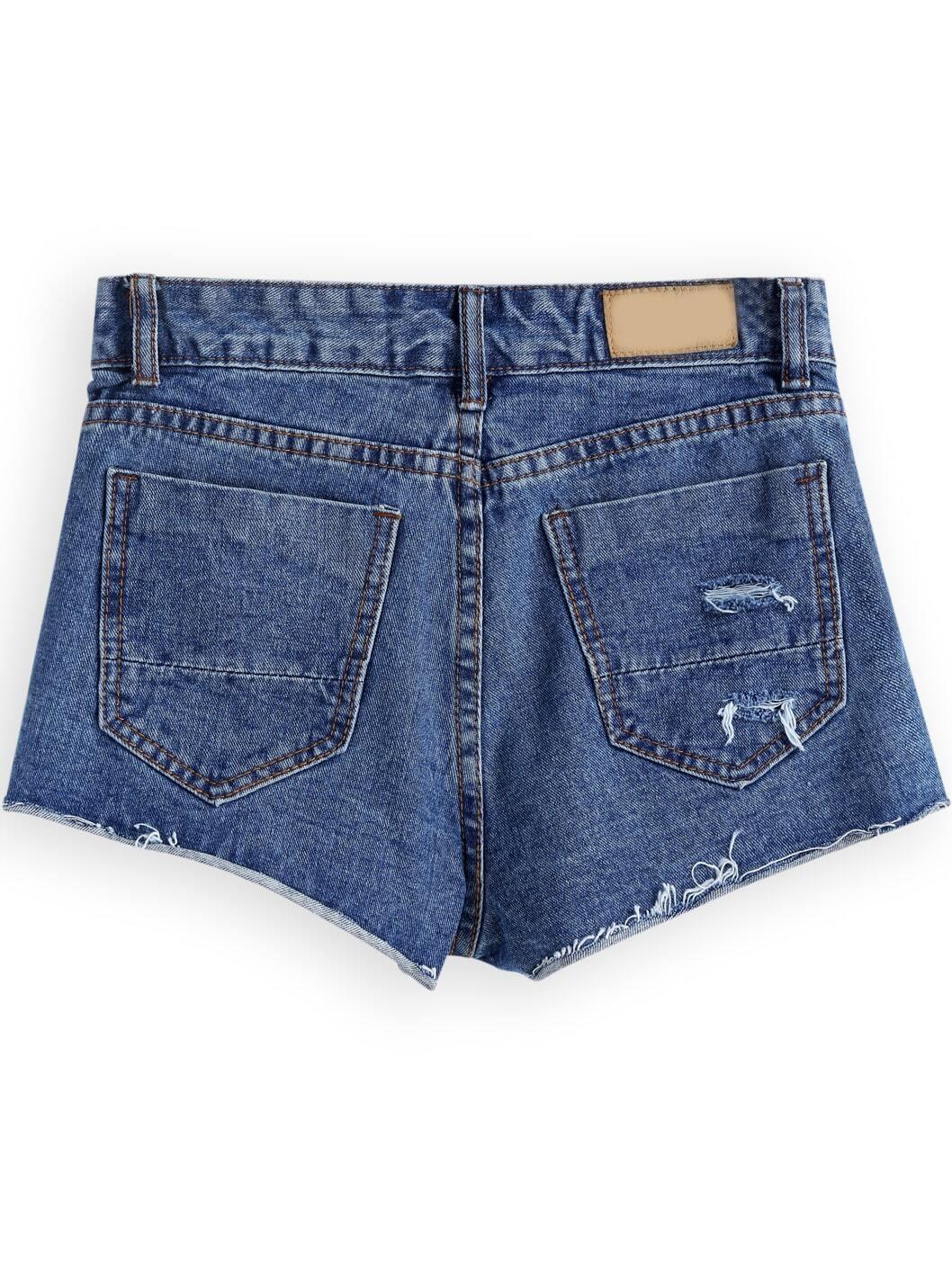 Blue Low Waist Ripped Denim Shorts -SheIn(Sheinside)