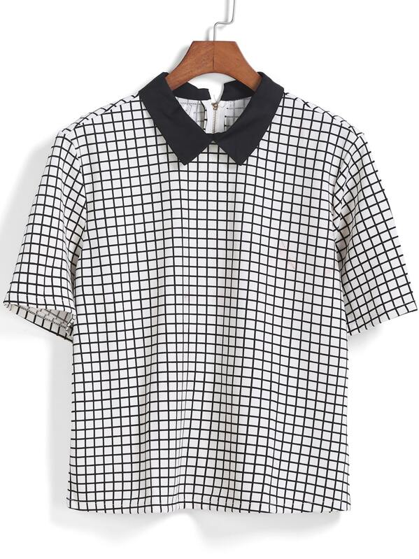 e9990c167dedec Black White Short Sleeve Plaid Blouse | SHEIN