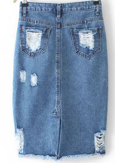 Blue High Waist Ripped Denim Skirt -SheIn(Sheinside)