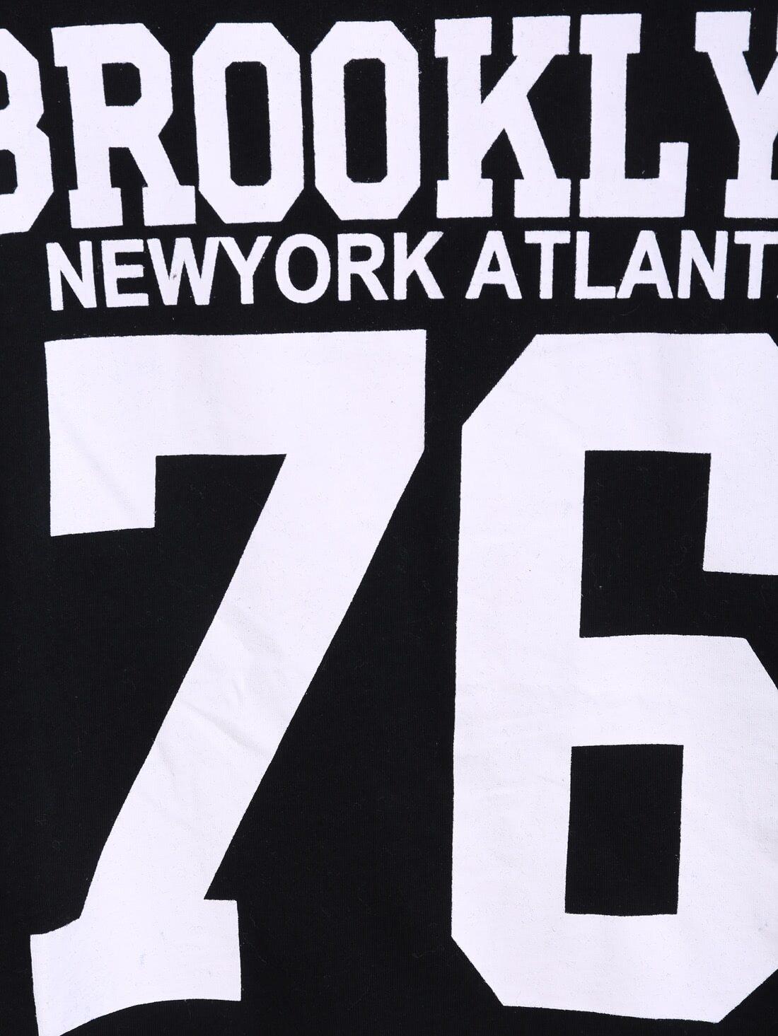 Black Short Sleeve BROOKLYN 76 Print Number Comfort Racewear Monogrammed Crop T-Shirt